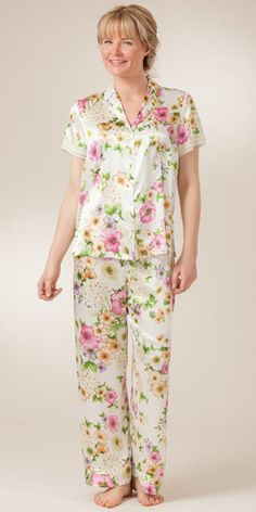 Oscar de la Renta Pink Label Cap Sleeve Silky Satin Charmeuse PJ Set - Splendid Glamour Nighties, Nightgowns, Silk Pajamas, Pyjamas, Churidar Pattern, Satin Pjs, Kurta Neck Design, Housecoat, Night Suit