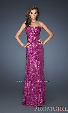 Strapless Sequin Long Dress for Prom by La Femme at PromGirl.com...I like this dress in the gold and red colors!