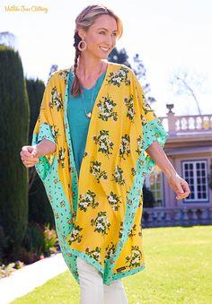 Matilda Jane Clothing Yellow & Aqua Floral What a Catch Kimono - Women Brand New Day, Matilda Jane, Petite Dresses, Bold Prints, Mom Style, Blue Tops, Plus Size, Clothes For Women, Jane Clothing