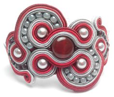 soutache cuff hand made, red agatha beads, bordeaux, red and gray, swarovski beads