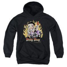 Betty Boop - Biker Flames Boop Youth Hoodie