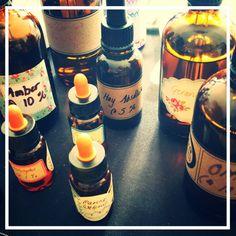 Perfumery materials at the studio.
