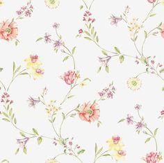 Fondo blanco con flores amarillas, rojas, lilas y crema.