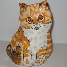 Striped Tabby Cat Vase by Nina Lyman Hand Painted Figurine Retired | eBay
