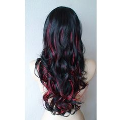 SUMMER SPECIAL Black /Red highlighted wig. Long Curly hair with long s ❤ liked on Polyvore featuring hair