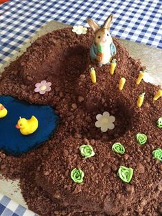 Peter Rabbit birthday cake - complete with it's own McGregor's vegetable patch! Perfect for little CBeebies fans!