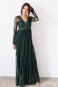The Rosalie Emerald Lace Maxi Dress