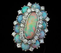 VINTAGE NATURAL AUSTRAILIAN OPAL AND DIAMOND BROOCH