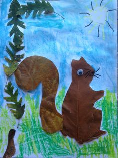 Squirrel leaf collage by India (Aged 5)