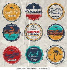 surfer vector set.vintage surf elements.vector retro surf label set. by swsctn, via Shutterstock