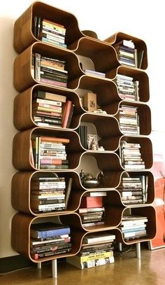 Stylish Bookcase Design in Various Models : Amazing Mid Century Modern Bookcase Design With Some Detached Rooms Countain Many Stacked Books ...