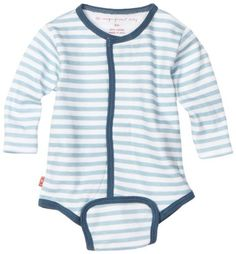 Has magnetic closures instead of snaps!  Magnificent Baby-boys Newborn Long Sleeve Burrito Bodysuit with Front Closing, Tourmaline Wide Stripes, 6 Months  Magnificent Baby , http://www.amazon.com/dp/B005SPQU0Q/ref=cm_sw_r_pi_dp_8n7Hpb13KTBNK