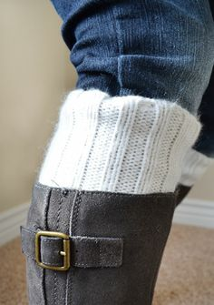 2 diy projects from 1 sweater: pillow + boot socks : Little Paper Dog