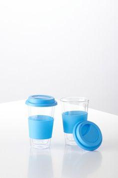 Glass Travel Mugs - Light Blue - Set of 2 by Yedi Houseware on @HauteLook