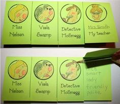 "Miss Nelson is Missing Activities: ""Flipping Over Characters"" flip booklet for Miss Nelson is Missing. The last section is about students' real teacher. Cute! Fun & easy  way to practice adjectives."