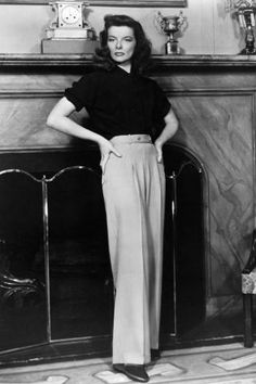 The actress poses in her signature trousers: