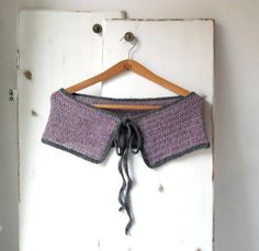 Crochet capelet mauve and grey romantic by TheSouloftheRose