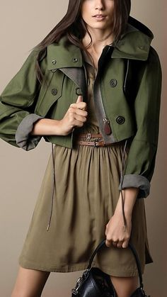 Burberry Brit Cropped Bonded Cotton Parka