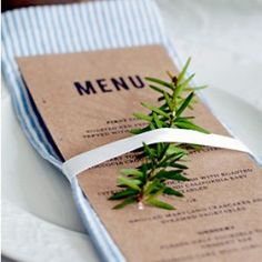 sprig of rosemary (or other herbs) on each place setting-- easy and cheap way to add an extra touch of color & texture Italian Restaurant Decor, Restaurant Menu Design, Menu Wedding, Wedding Places, Diy Wedding, Deco Table, A Table, Dinner Party Menu, Restaurants