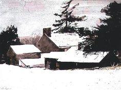 Andrew Wyeth and Bob Timberlake: Painting on Familiar Ground Andrew Wyeth Paintings, Andrew Wyeth Art, Jamie Wyeth, Nc Wyeth, Winter Painting, Edward Hopper, Paintings I Love, Art Paintings, Winter Scenes