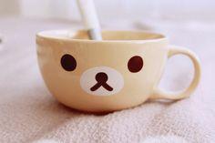 kawaii-i: Korilakkuma - by minami My Coffee, Coffee Mugs, Kitchenware, Tableware, Strawberry Milk, Milk Cup, My Cup Of Tea, Rilakkuma, Cute Mugs