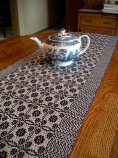 Table Runner Handwoven Overshot Pattern by ThistleRoseWeaving, $75.00