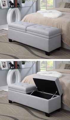 The Finley Upholstered Storage Bench creates style and function in one location. Expert tailoring and detailed stitching are obvious with the button tufting and clean lines. Either as an accent ottoman in your living room, or at the foot of your bed, the Finley Upholstered Bench offers a comfortable and classic design that will enhance any décor.