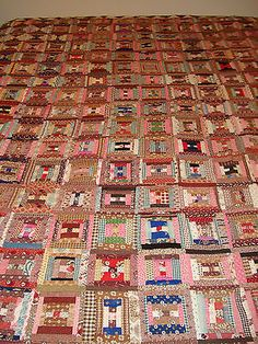 Log-Cabin-Quilt-1860s-1880s-Browns-and-Pinks-Cotton-Linen