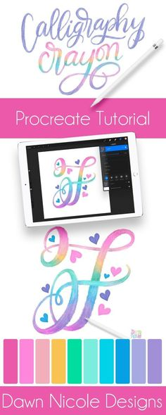Procreate Tutorial: Rainbow Calligraphy Crayon - ipad - Ideas of ipad #ipad - Procreate Tutorial: Rainbow Calligraphy Crayon. Creating this colorful style of lettering is oh-so-easy. Follow these steps to whip up your own version. Plus a free color palette! Rainbow Crayon, Affinity Designer, Ipad Art, Lettering Tutorial, Digital Art Tutorial, No Photoshop, Apps, Iphone, Adobe Illustrator
