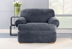 Photo of Stretch Plush Separate Seat T-Cushion Slipcovers