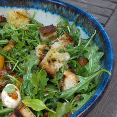 Grilled peach Salad with grilled bread