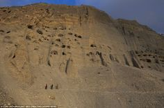 Extraordinary man-made caves in Upper Mustang. There are an estimated 10,000 of these caves in the region, many of them thousands of years old.