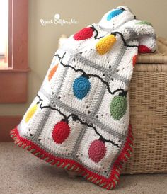 Crochet blanket with cute Christmas lights pattern