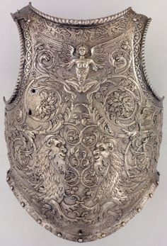 Breastplate Giovanni Paolo Negroli (Italian, Milan, ca. Culture: Italian, Milan Medium: Embossed and etched steel with faint traces of gilding. The Metropolitan Museum of Art. Armadura Medieval, Knight In Shining Armor, Knight Armor, Renaissance, Arm Armor, Body Armor, Horse Armor, Fantasy Armor, Medieval Fantasy