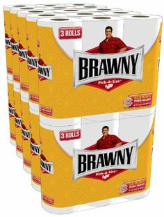 Brawny Regular Rolls, Pick-A-Size, White, 30 Count by Brawny. $40.73. Kids knock over glasses of milk. Dogs make a mess drinking out of the toilet. Dads leave footprints down the hallway after gardening. There's always a mess for someone to clean up. But that's okay. Because messes happen. With brawny paper towels in the house, you've got the strength to take on tough messes. One sheet of brawny towels can handle everything from everyday cleaning to even tough messes- d...