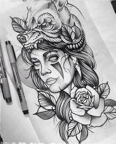 new Ideas for neo traditional tattoo design indian La Muerte Tattoo, Catrina Tattoo, Neue Tattoos, Body Art Tattoos, Sleeve Tattoos, Hand Tattoos, New Traditional Tattoo, Neo Traditional Art, American Traditional