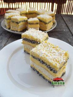 Prajitura cu mac si crema de vanilie - Hai să gătim cu Amalia Peppermint Cheesecake, Cheesecake Bites, Baby Food Recipes, Cake Recipes, Dessert Recipes, Just Desserts, Delicious Desserts, Romanian Desserts, Love Eat