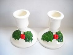 Vintage Christmas Candlesticks Pair Pottery Lilian Vernon | Etsy