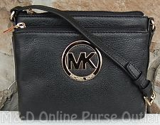 NWT NEW Auth Michael Kors MK Signature Fulton Large Crossbody Purse Bag ~Black