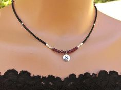 Silver and garnet necklace personalized charm by TamDavisDesigns
