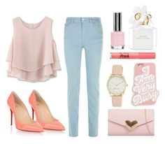 """""""Pretty in Pastel"""" by sparkly-mango ❤ liked on Polyvore featuring Armani Jeans, Chicwish, Christian Louboutin, Nine West, ban.do, Topshop, Too Faced Cosmetics and Marc Jacobs"""