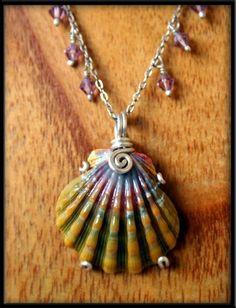 RARE Dark Green Purple Sunrise Shell Silver Necklace