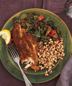 Cajun Catfish With Black-Eyed Peas and Stewed Collards recipe