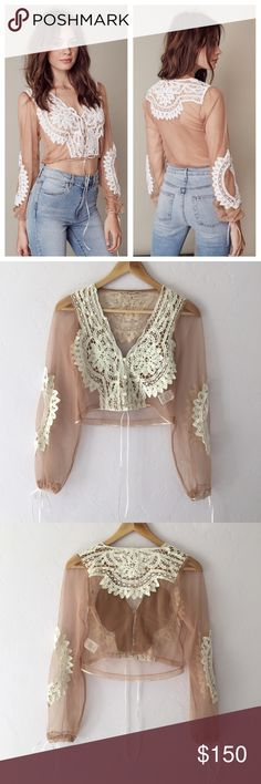 """For Love & Lemons Penelope Crop Top Gorgeous For Love and Lemons v-neck mesh top in """"Ivory and Nude."""" Buttons up the front and cinches at the waist and wrists with thin white ribbons. Worn once and in perfect condition! Bought on Revolve website. SOLD OUT ONLINE! For Love and Lemons Tops Crop Tops"""