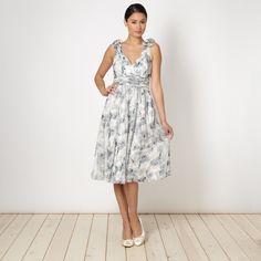 No. 1 Jenny Packham Designer ivory floral bow shoulder party dress