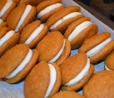 Gluten Free Pumpkin Whoopie Pies with Maple Cream Cheese Filling.  Yummy fall dessert!