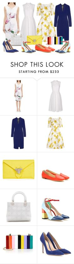 """""""color"""" by needlework ❤ liked on Polyvore featuring Ted Baker, Diane Von Furstenberg, Roland Mouret, Suzannah, Wilbur And Gussie, Chloé, Christian Dior, Thom Browne, Milly and Gianvito Rossi"""