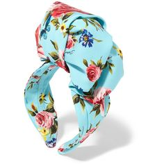 Dolce & Gabbana Floral-print silk-satin headband ($745) ❤ liked on Polyvore featuring accessories, hair accessories, blue, rose flower headband, butterfly headband, rose headband, blue headband and floral tiara