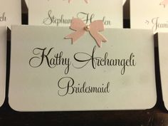 Customize Any Color, 10 Wedding Place Cards / Escort Cards, Bridal Shower, Birthday, Pink Ribbon & Pearl, Customize Any Color, Name Printing