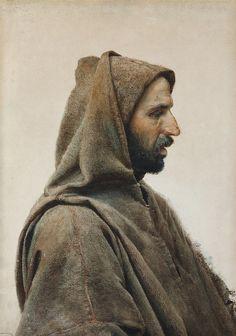monsieurlabette: José Tapiro y Baro (Spanish, 1830-1913), A man wearing a burnous. Watercolour on paper, 69 x 48.5 cm.